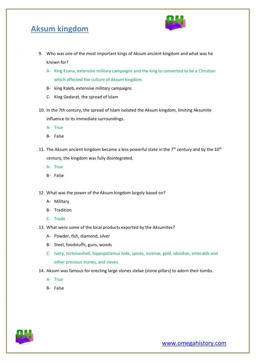 the kingdom of Aksum history worksheet questions with answers  pdf