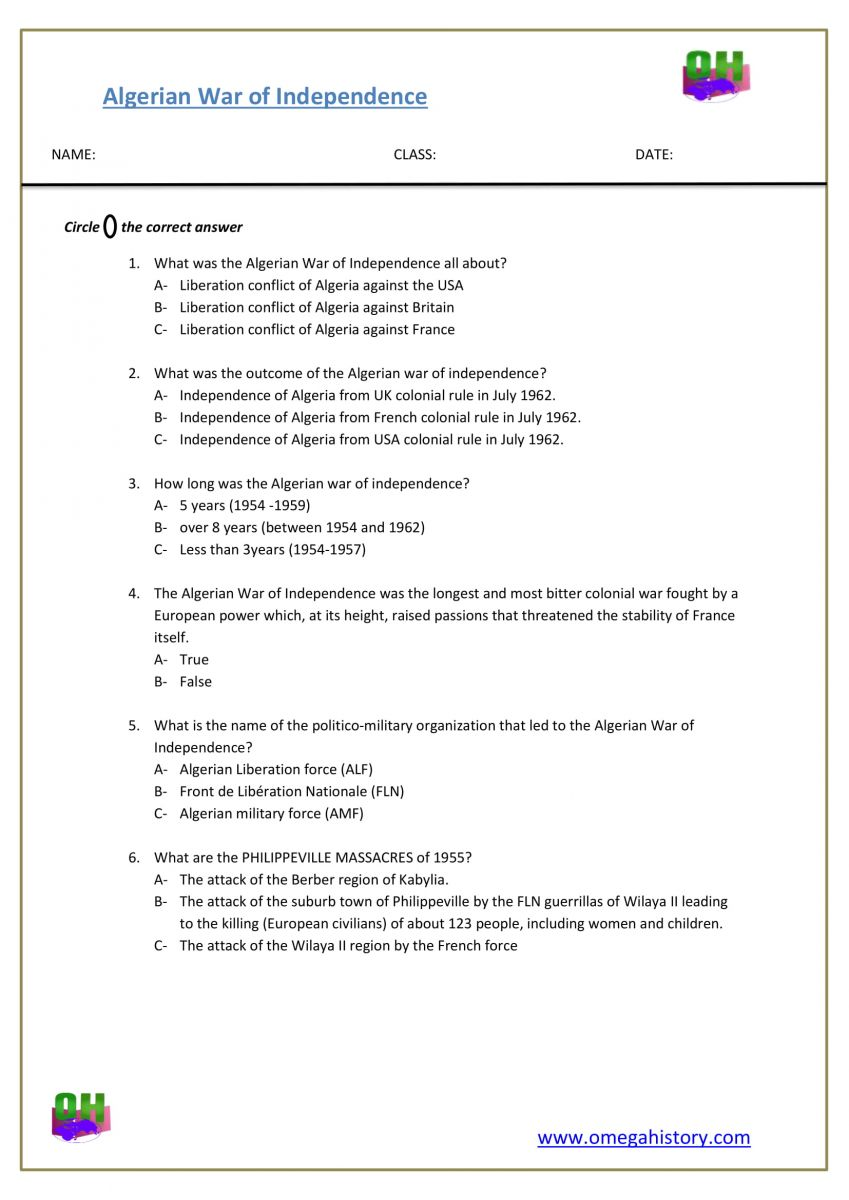 Algerian War of Independence history questions pdf