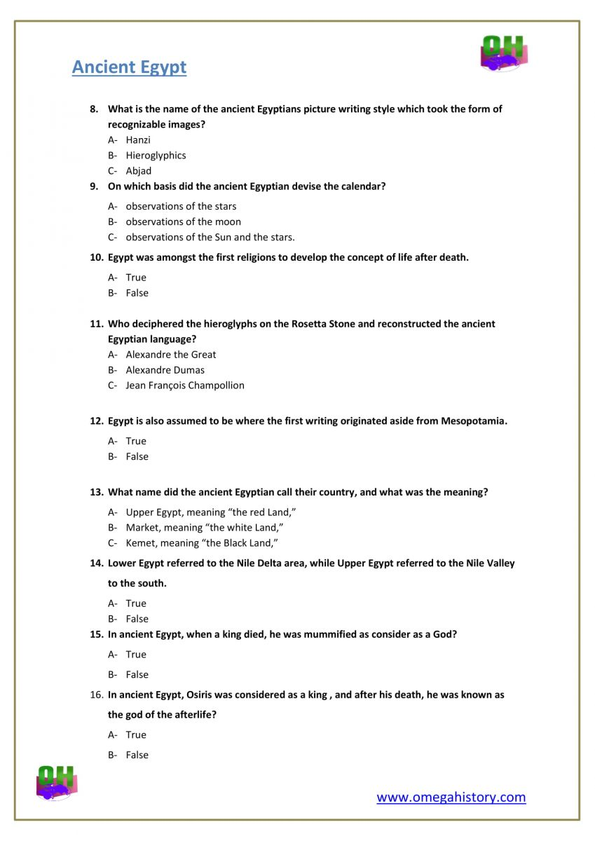 Questions about ancient Egypt history answers worksheets 6th grade pdf