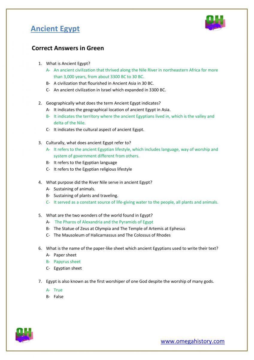 Questions about ancient Egypt history answers worksheets pdf
