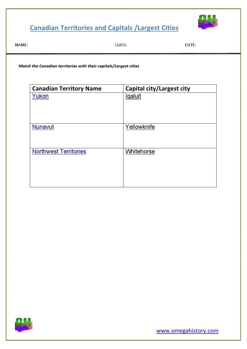 Largest cities andcapitals in canadian territories-  worksheet of Geography