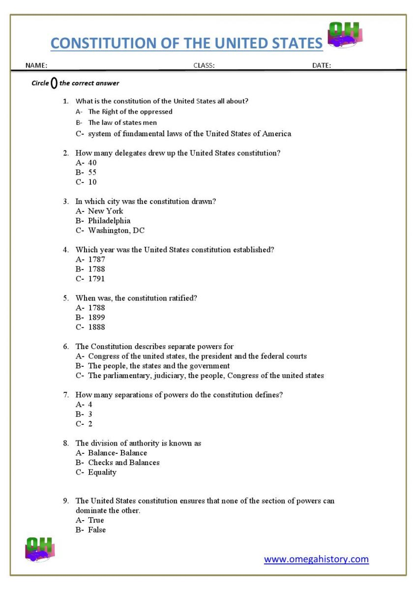 united states consistution worksheet