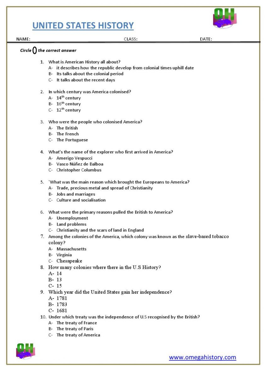 United states History easy question and answer worksheet