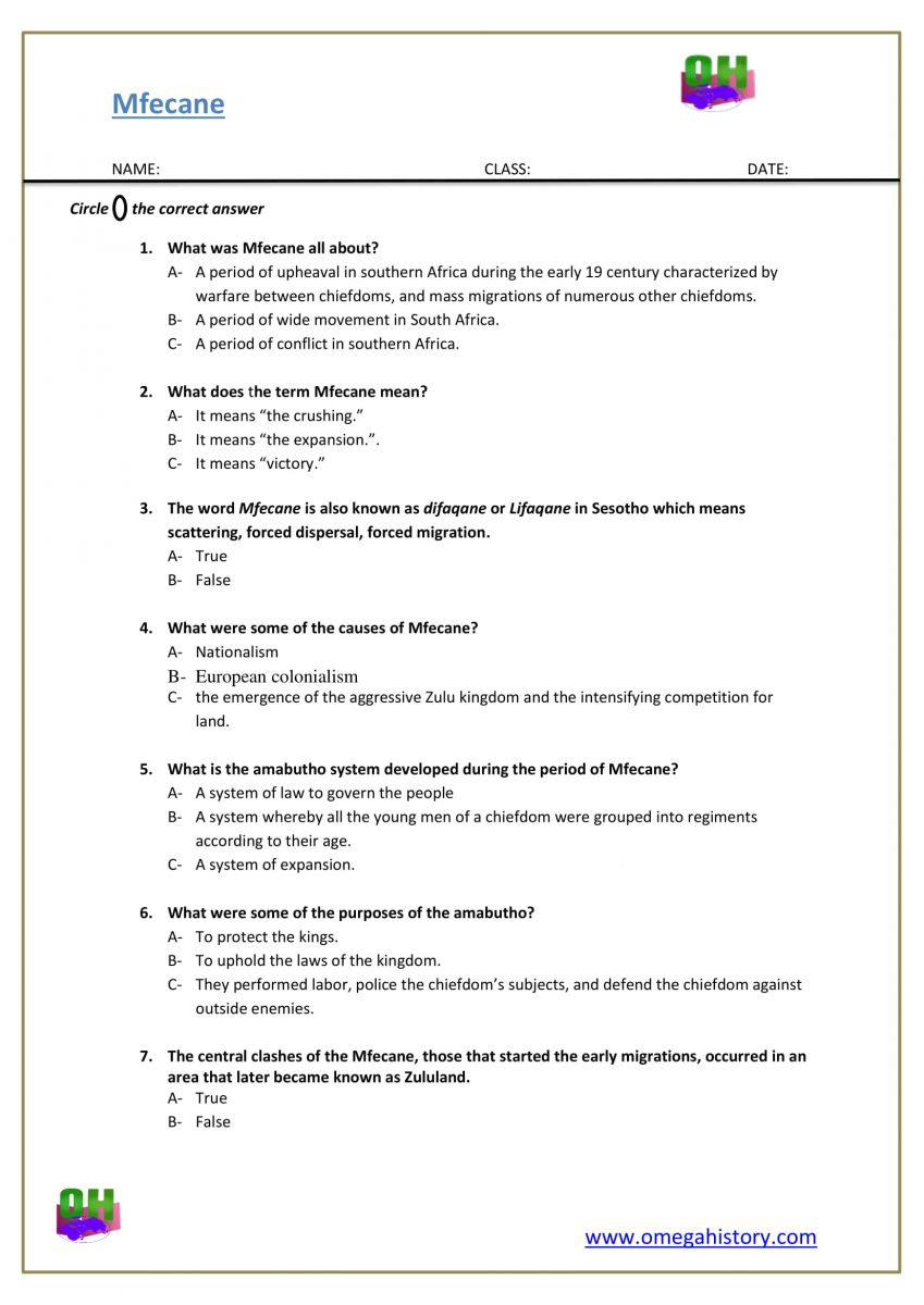 Mfecane war south African history question pdf