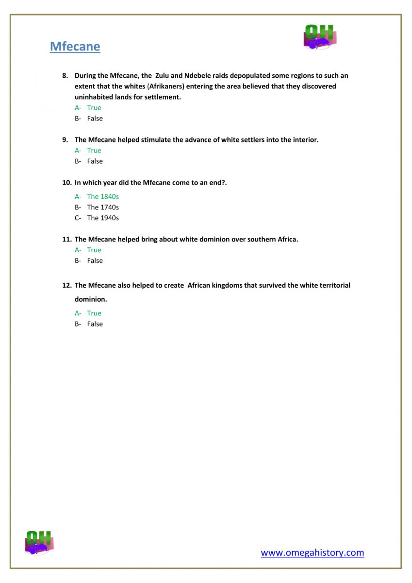 Mfecane war south African history answers pdf