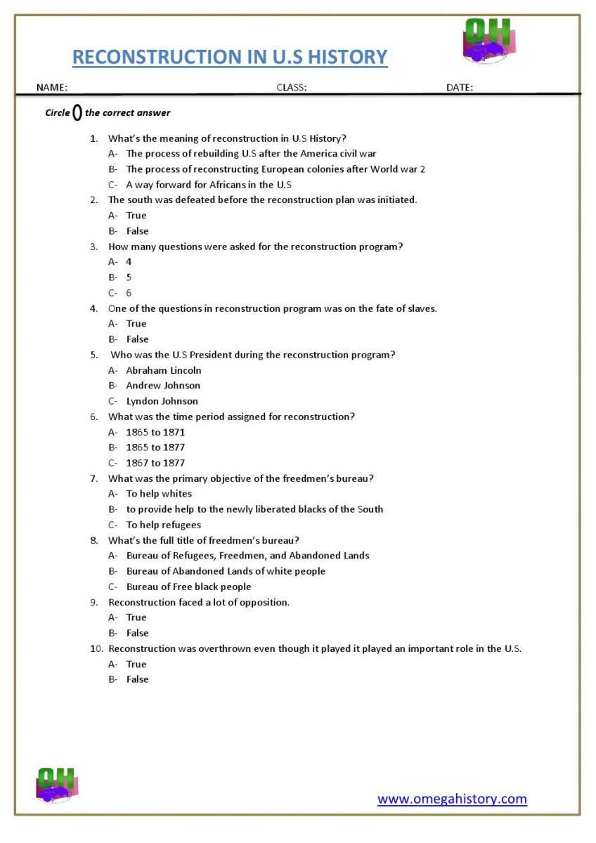 reconstruction history in USA, social studies worksheet
