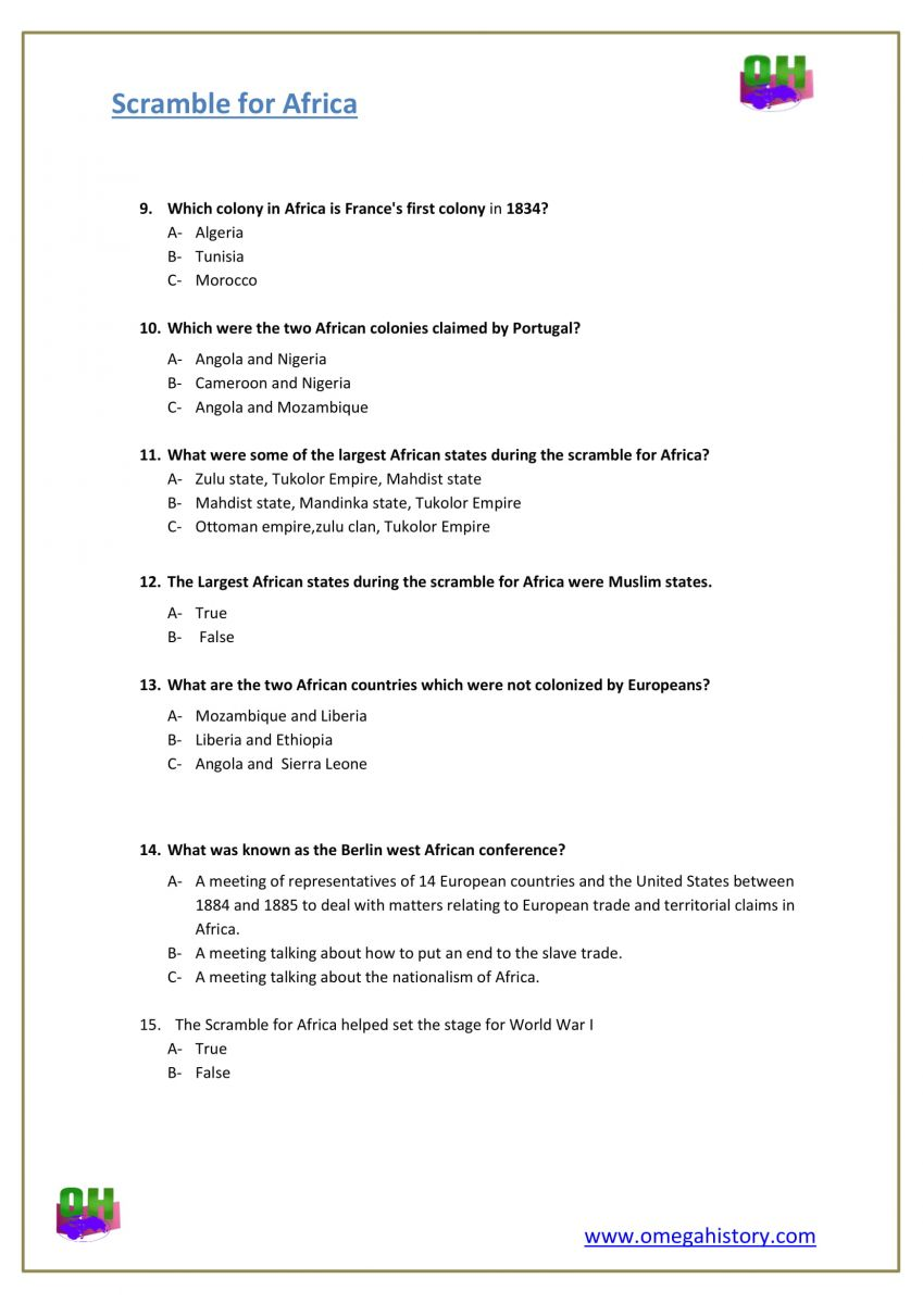 what is scramble for Africa-history question worksheet pdf