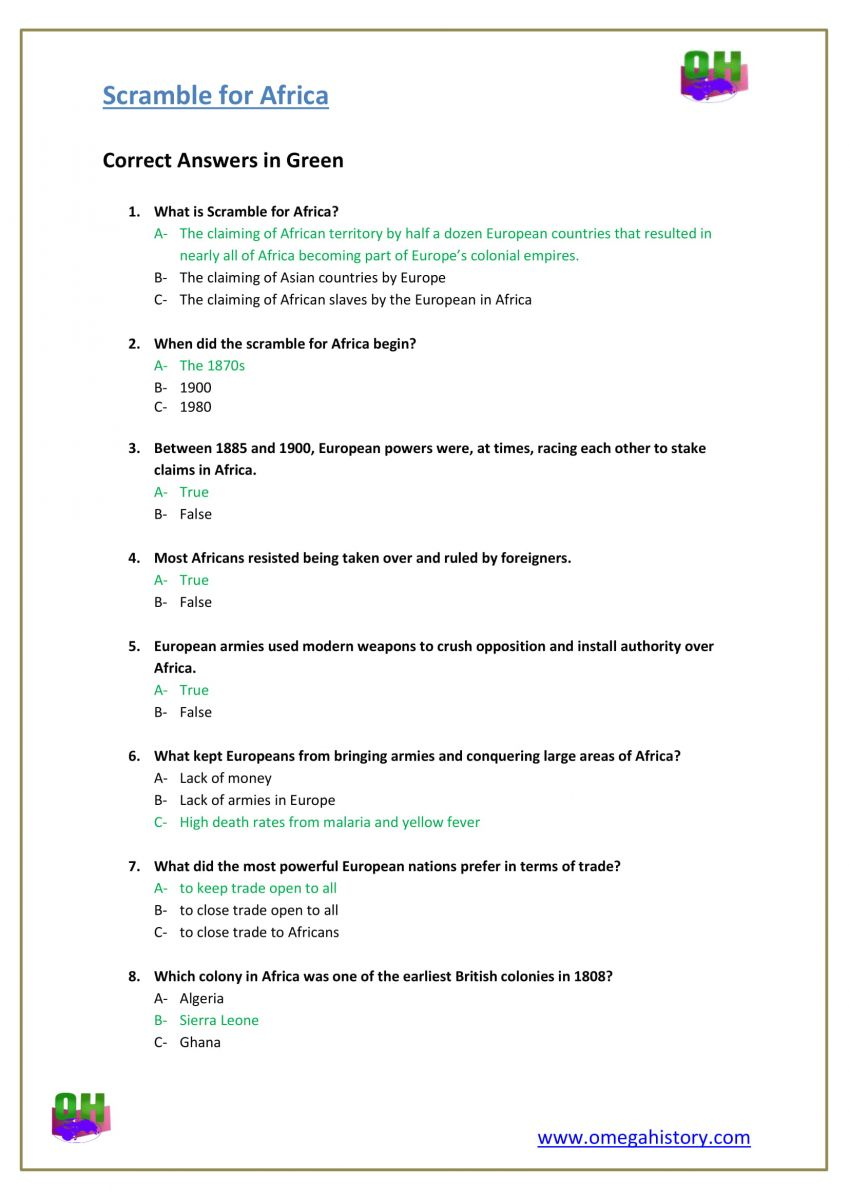 what is scramble for Africa-history answer worksheet pdf