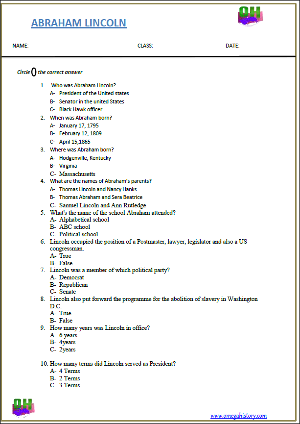 Some Interesting Facts About Abraham Lincoln Printable