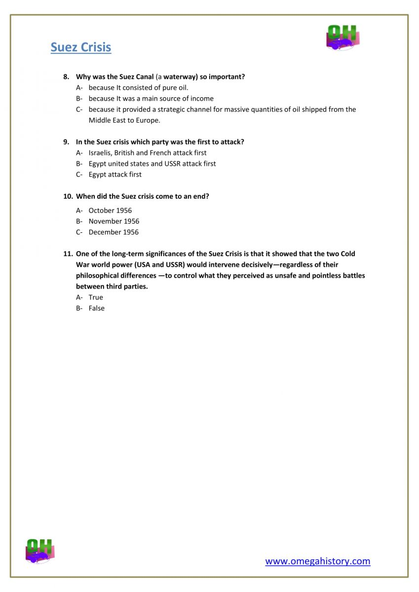 Suez canal crisis of 1956 history answers and questions worksheet pdf