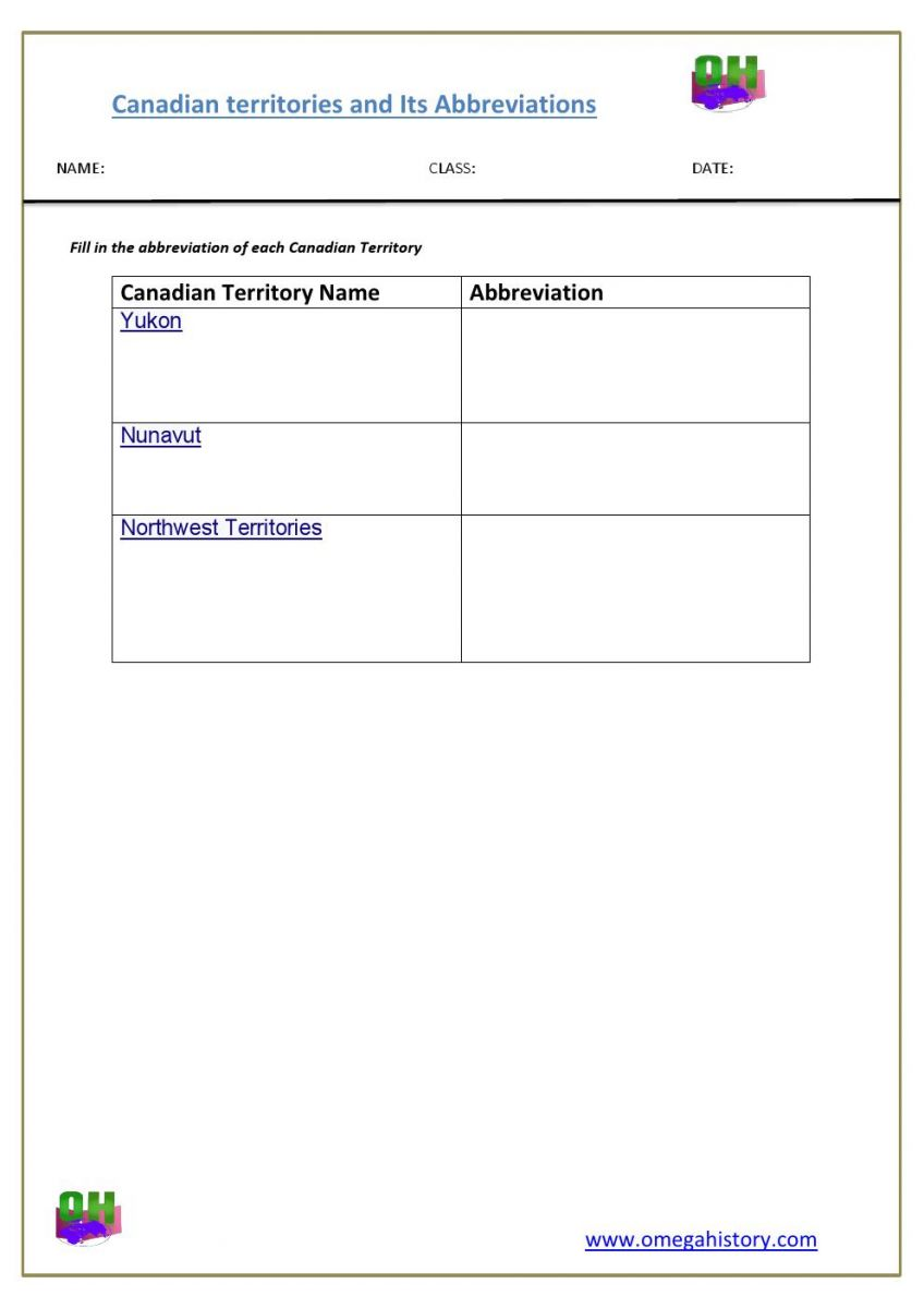 Territories of Canada abbreviations list student activity – Canada Worksheets