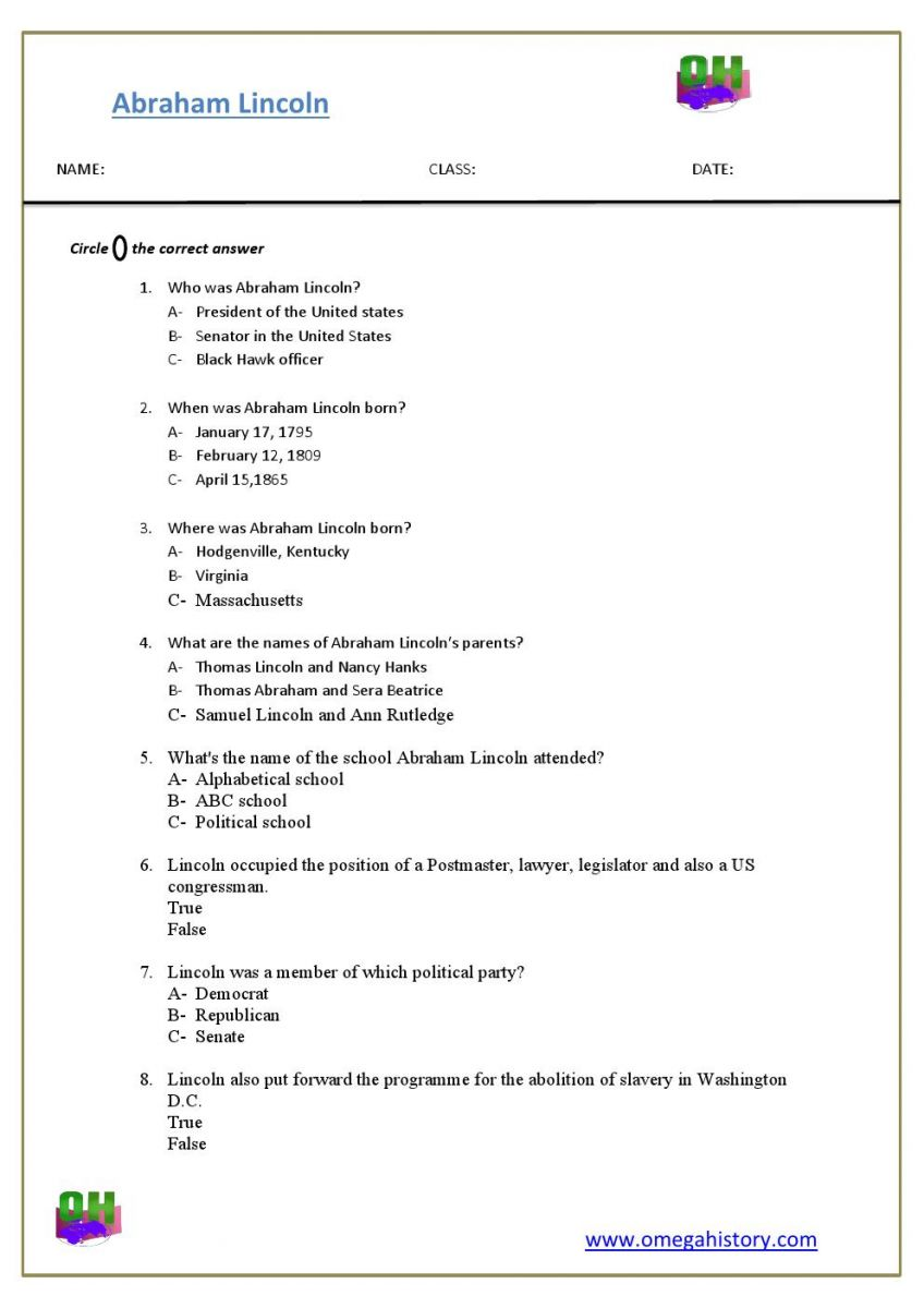 abraham lincoln worksheets plus
